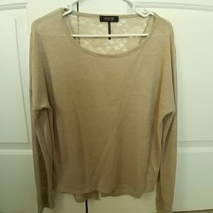 Tan Blouse with Lace Back